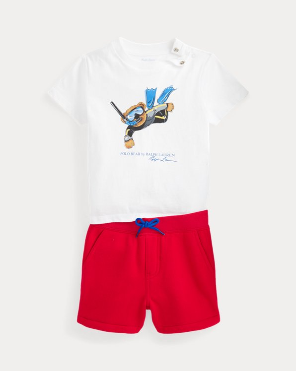 Polo Bear T-shirt and Fleece Short Set