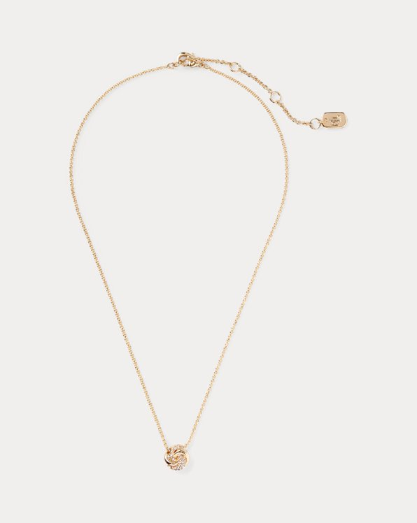 Gold-Tone Pave Knot Necklace