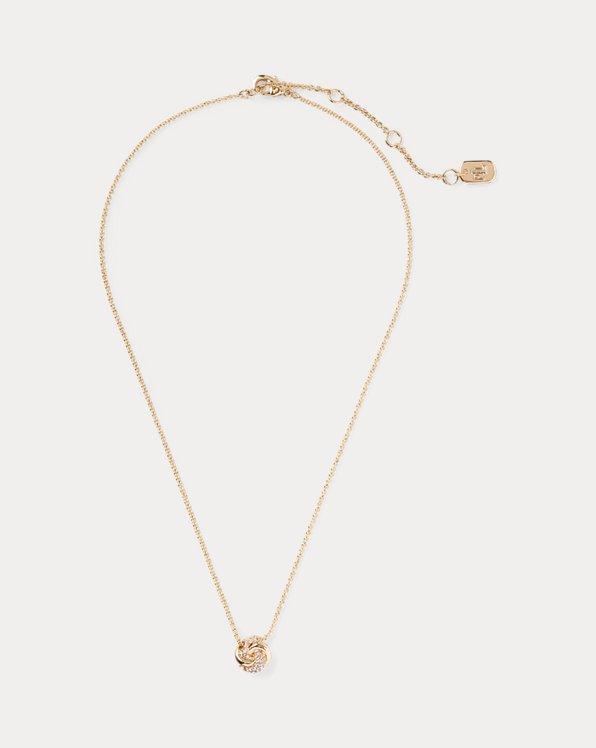 Goldfarbene Halskette mit Knotenanhänger