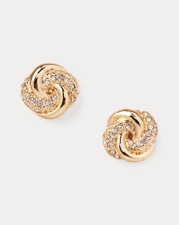 Boucles d'oreilles à nœud pavées dorées