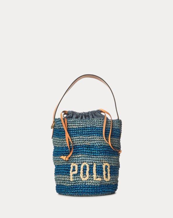 Raffia Striped Mini Bucket Bag