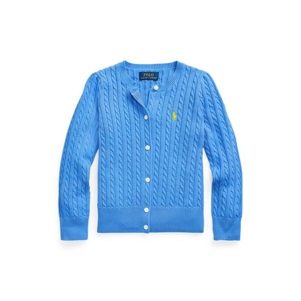 폴로 랄프로렌 여아용 미니 꽈배기 코튼 가디건 - 콜비 블루 Polo Ralph Lauren Mini Cable Cotton Cardigan