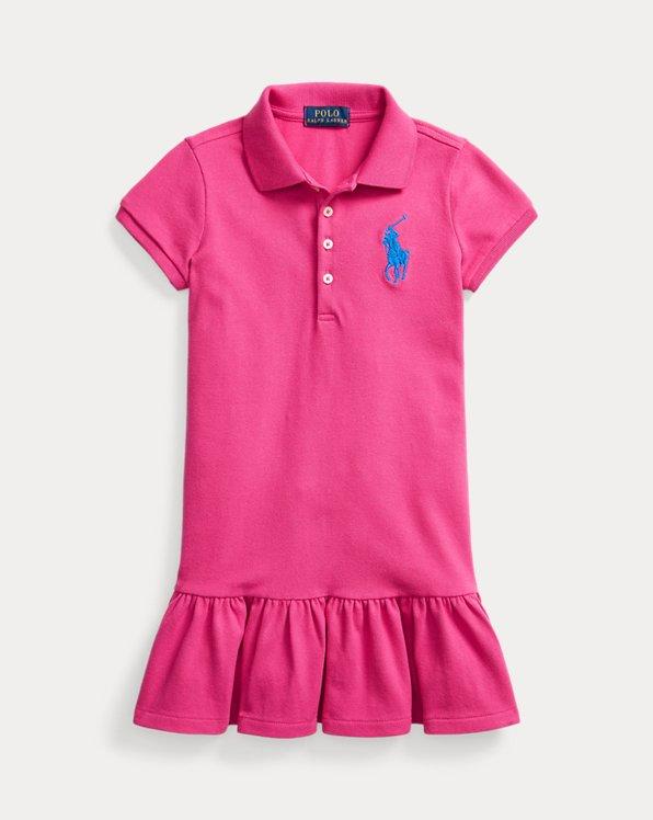 폴로 랄프로렌 여아용 원피스 Polo Ralph Lauren Big Pony Mesh Polo Dress,Accent Pink