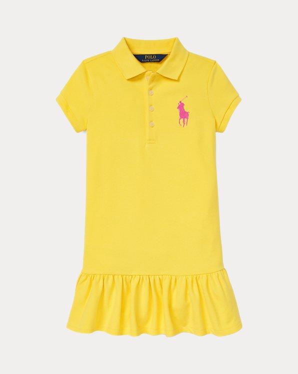 폴로 랄프로렌 여아용 원피스 Polo Ralph Lauren Big Pony Mesh Polo Dress,University Yellow