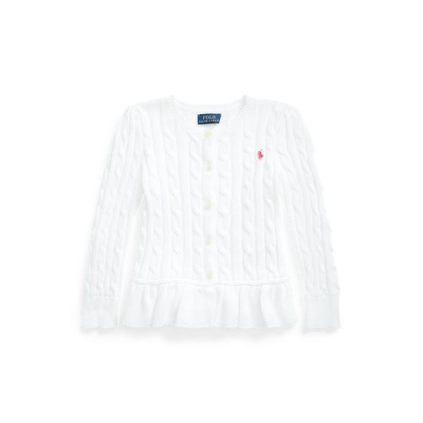 [21SS 뉴컬러!] 폴로 랄프로렌 여아용 꽈배기 니트 코튼 페플럼 가디건 - 화이트 Polo Ralph Lauren Cable Knit Cotton Peplum Cardigan 569398