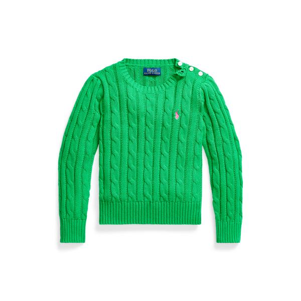 폴로 랄프로렌 여아용 꽈배기 니트 코튼 스웨터 - 골프 그린 Polo Ralph Lauren Cable Knit Cotton Sweater