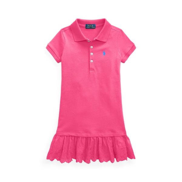 폴로 랄프로렌 여아용 원피스 Polo Ralph Lauren Eyelet Stretch Mesh Polo Dress,Accent Pink