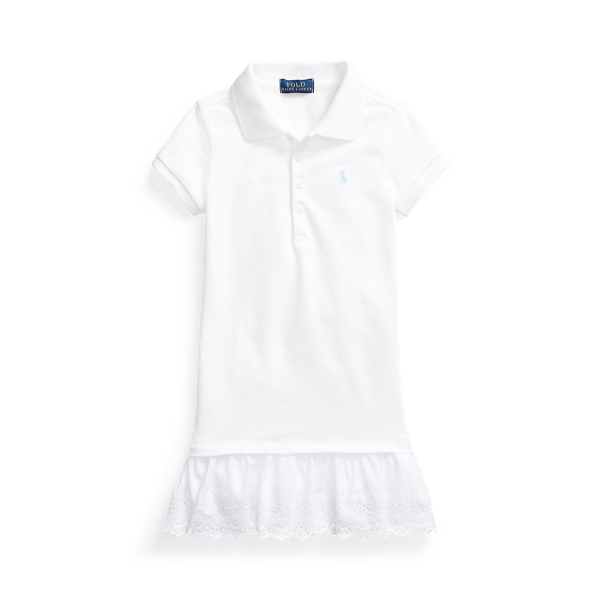 폴로 랄프로렌 여아용 원피스 Polo Ralph Lauren Eyelet Stretch Mesh Polo Dress,White
