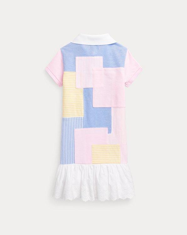 Patchwork Cotton Mesh Polo Dress