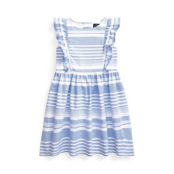 폴로 랄프로렌 여아용 원피스 Polo Ralph Lauren Striped Cotton Oxford Dress,Harbor Island Blue/White