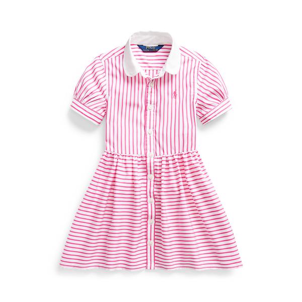폴로 랄프로렌 여아용 셔츠 원피스 Polo Ralph Lauren Striped Cotton Shirtdress,Pink/White