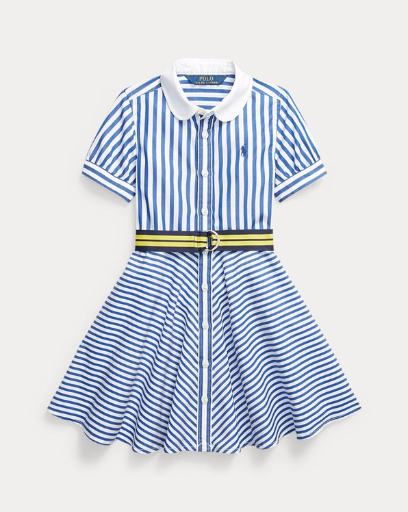 Striped Belted Cotton Shirtdress