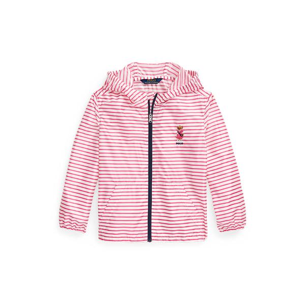 폴로 랄프로렌 여아용 자켓 Polo Ralph Lauren Polo Bear Packable Hooded Jacket,White/Pink