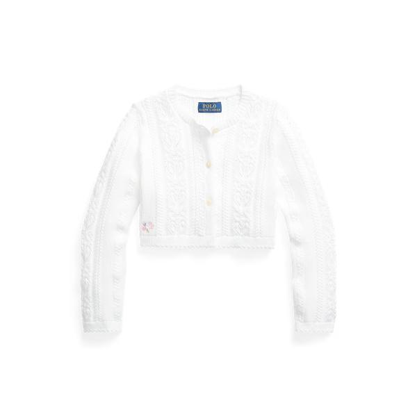 폴로 랄프로렌 여아용 가디건 Polo Ralph Lauren Pointelle-Knit Cropped Cotton Cardigan,White