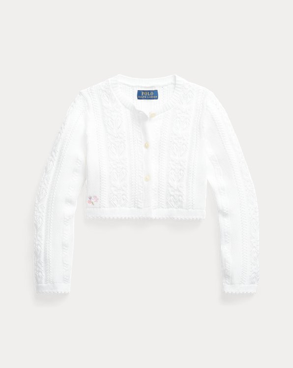 Pointelle-Knit Cropped Cotton Cardigan