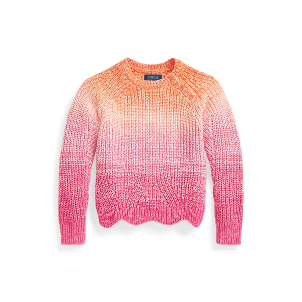 폴로 랄프로렌 여아용 스웨터 Polo Ralph Lauren Ombre Cotton Sweater,Sailing Orange Multi