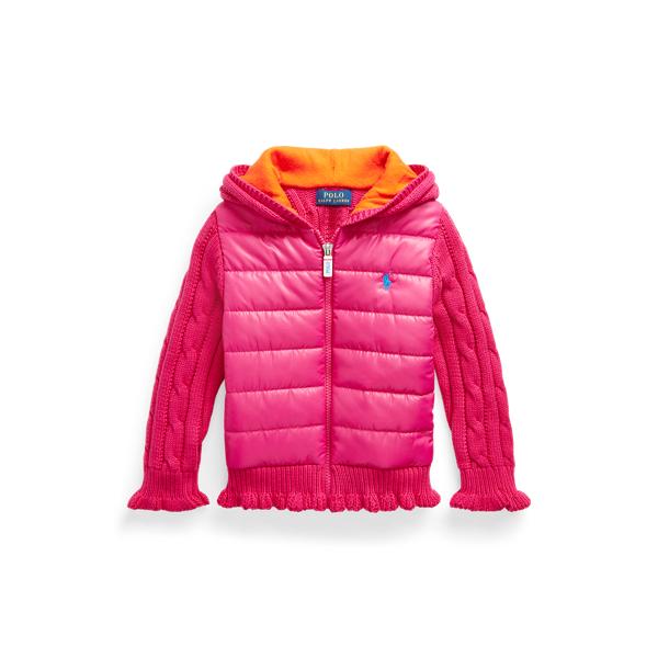 폴로 랄프로렌 여아용 집업 스웨터 Polo Ralph Lauren Hybrid Cotton-Blend Full-Zip Sweater,Accent Pink