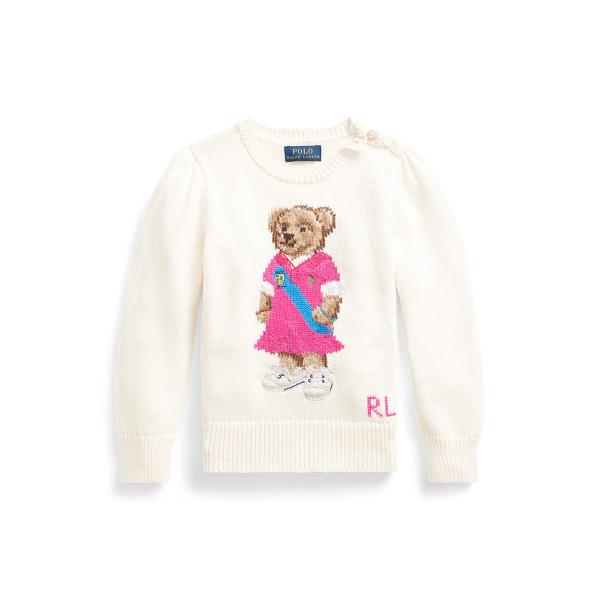 폴로 랄프로렌 여아용 스웨터 Polo Ralph Lauren Polo Bear Cotton Sweater,Clubhouse Cream