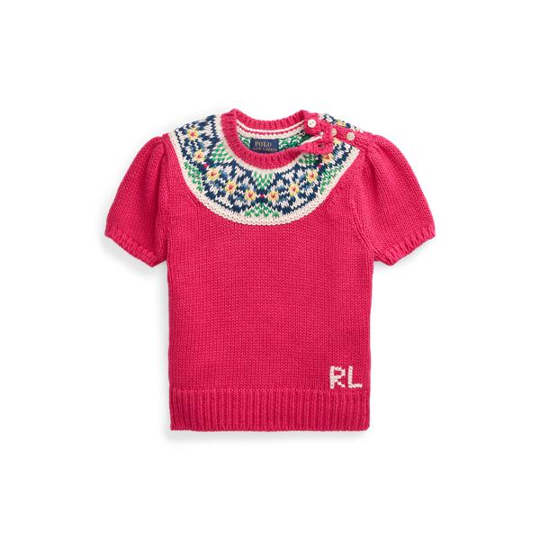 폴로 랄프로렌 여아용 스웨터 Polo Ralph Lauren Fair Isle Cotton Sweater,Accent Pink