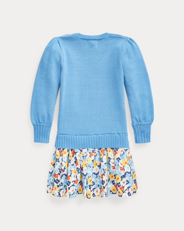 Floral-Skirt Cotton Sweater Dress