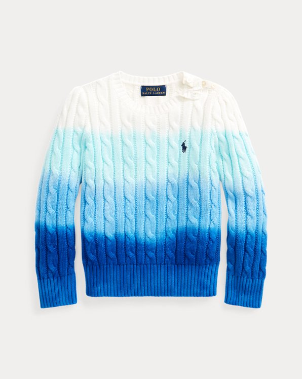 Dip-Dyed Cable-Knit Cotton Jumper