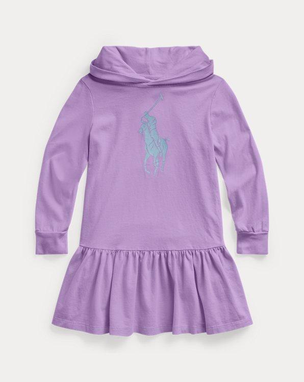 폴로 랄프로렌 여아용 후드 원피스 Polo Ralph Lauren Big Pony Cotton Jersey Hooded Dress,Hampton Purple