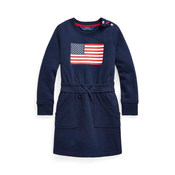 폴로 랄프로렌 여아용 원피스 Polo Ralph Lauren Flag Cotton-Blend-Fleece Dress,French Navy