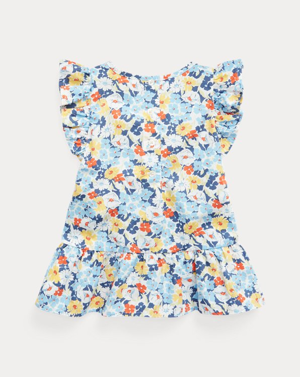 Floral Cotton Poplin Peplum Top