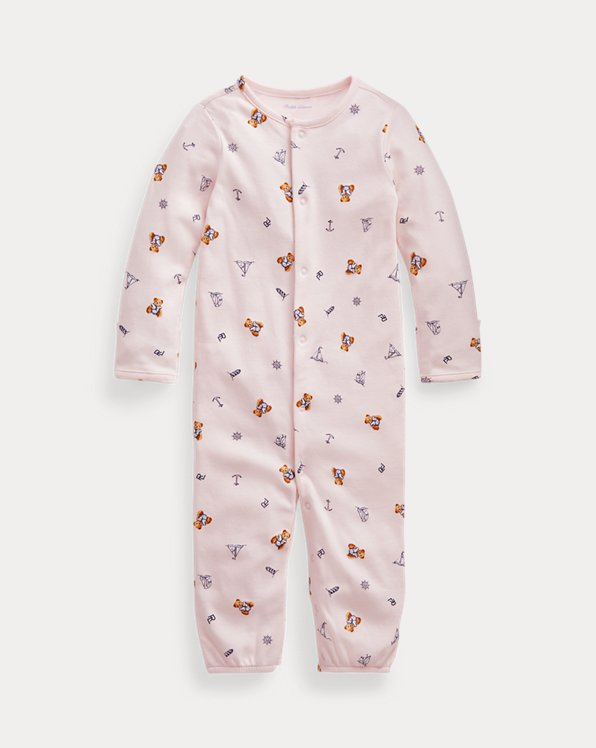 Bear-Print Convertible Gown Coverall