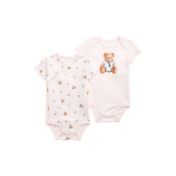 폴로 랄프로렌 Polo Ralph Lauren Polo Bear Bodysuit 2 Piece Set,Pink Multi