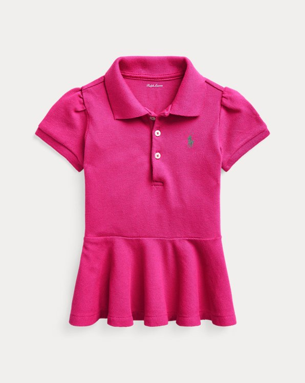 Peplum Cotton Pique Polo Shirt
