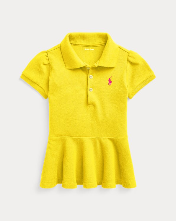 Peplum Cotton Pique Polo Shirt