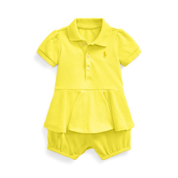 폴로 랄프로렌 Polo Ralph Lauren Peplum Mesh Bubble Shortall,Yellow