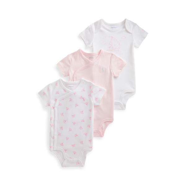 폴로 랄프로렌 Polo Ralph Lauren Sailboat Print 3 Piece Bodysuit Set,Delicate Pink Multi