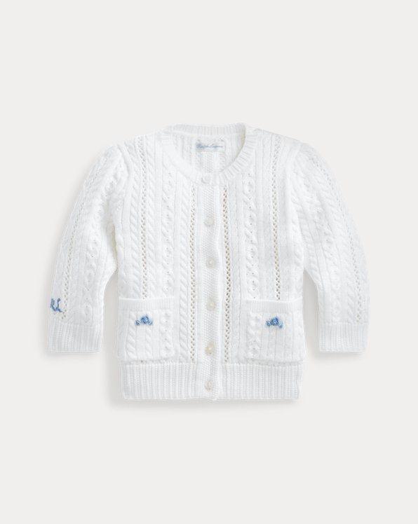 Pointelle-Knit Cotton Cardigan