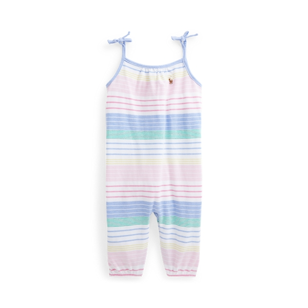 Ralph Lauren STRIPED COTTON OXFORD ROMPER