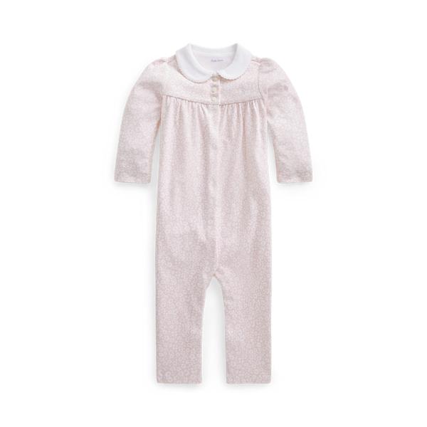 폴로 랄프로렌 Polo Ralph Lauren Floral Cotton Interlock Coverall,Pink White Multi