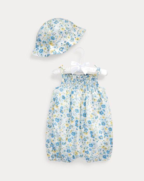 Floral Cotton Bubble Shortall & Hat Set
