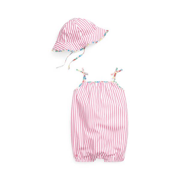 폴로 랄프로렌 Polo Ralph Lauren Striped Shortall Sun Hat Set,Pink/White