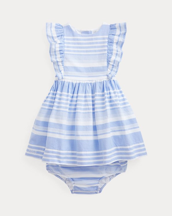 Robe et bloomer Oxford à rayures