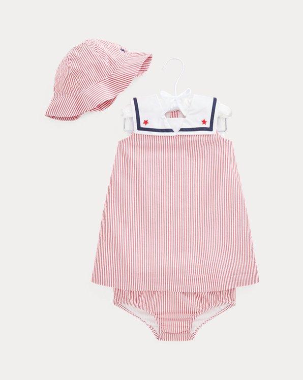 Sailor Dress, Bloomer, & Hat Set