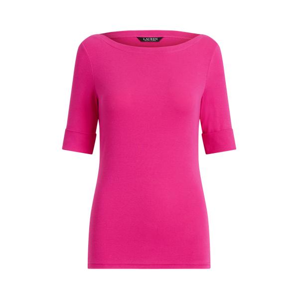 Lauren Cotton Blend Boatneck Top,Nouveau Bright Pink