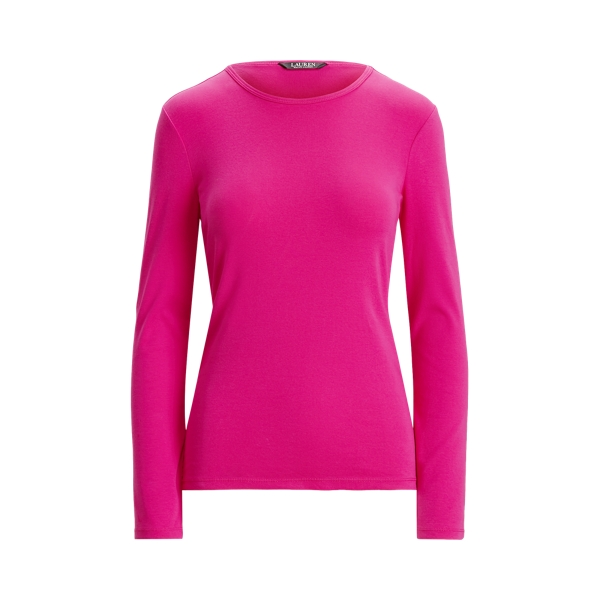 Lauren Cotton Blend Long Sleeve Top,Nouveau Bright Pink