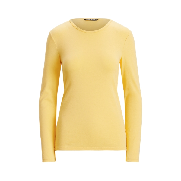 Lauren Cotton Blend Long Sleeve Top,Beach Yellow