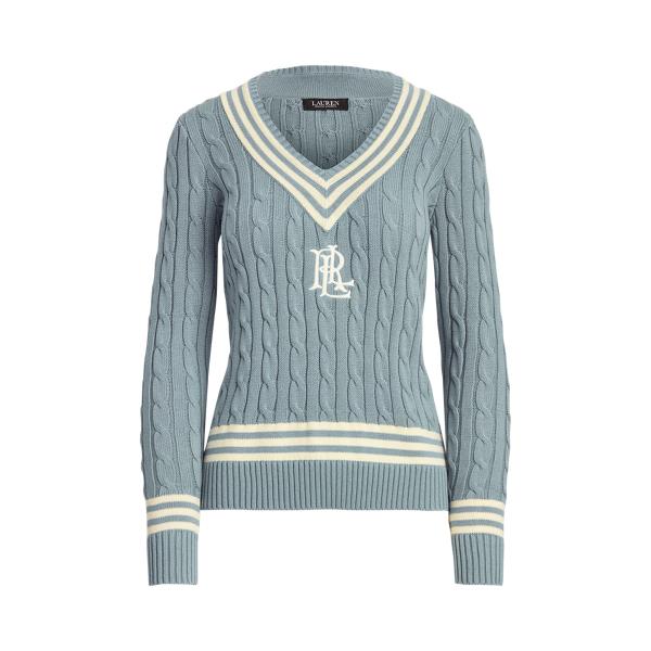 로렌 랄프로렌 우먼 로고 크리켓 스웨터 Polo Ralph Lauren Logo Cricket Sweater,Dust Blue/ Mas Cream