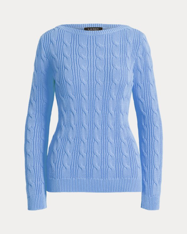 Cable-Knit Cotton Boatneck Sweater