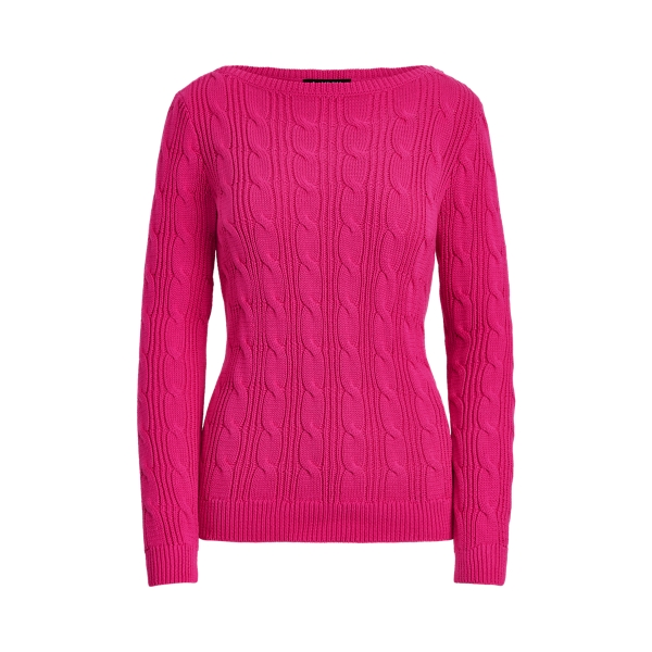 로렌 랄프로렌 꽈배기 스웨터 Polo Ralph Lauren Cable-Knit Cotton Boatneck Sweater,Nouveau Bright Pink