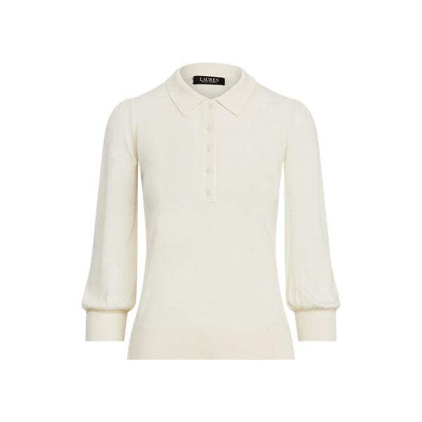 로렌 랄프로렌 스웨터 Polo Ralph Lauren Silk-Blend Puff-Sleeve Sweater,Mascarpone Cream