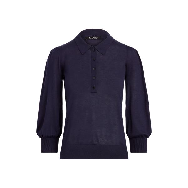 로렌 랄프로렌 스웨터 Polo Ralph Lauren Silk-Blend Puff-Sleeve Sweater,French Navy