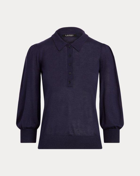 Silk-Blend Puff-Sleeve Sweater
